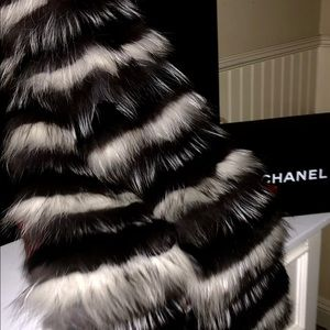Authentic- Striped Black and White Fox Fur Scarf